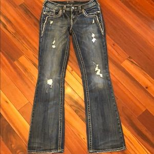 Silver Aiko distressed Bootcut Jeans size 26